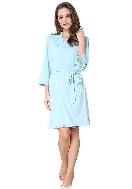 d1e60b539f Godsen Women s Soft Kimono Cotton Sleepwear Bathrobe Nightgown Knit ...