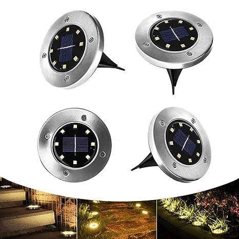 LTPAG 4pcs Luces de Tierra Solares, 8 LED Luz del Jardín de Tierra IP65 Impermeable Acero ...