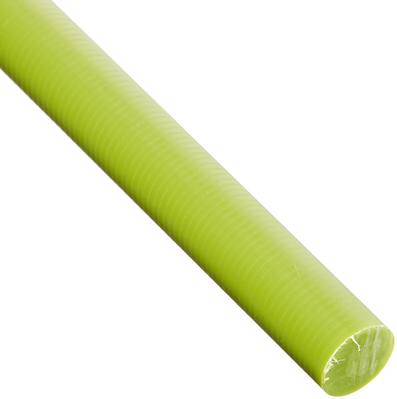 Oil-Filled Cast Nylon Round Rod, Opaque Green, Meets ASTM D5989, 1' Diameter, 2' Length