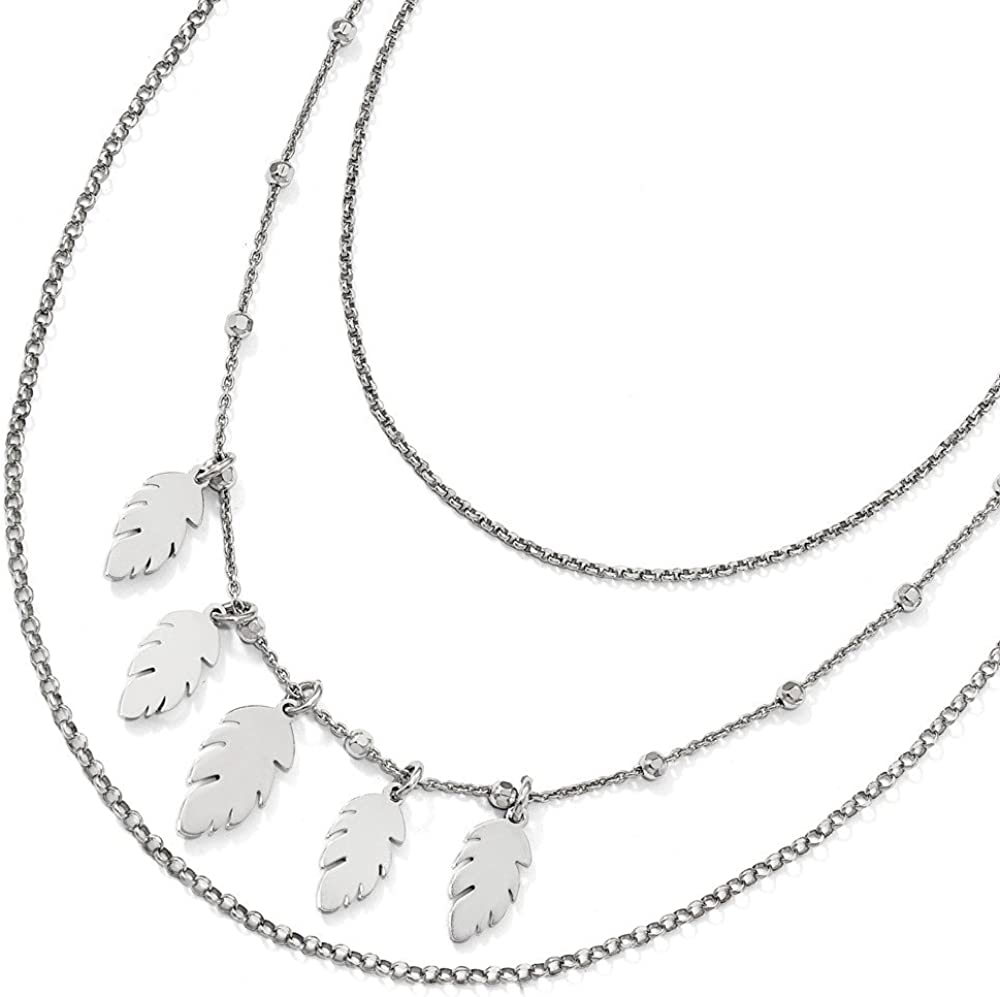 Jewelry Necklaces Chains Leslies Sterling Silver Polished Leaf Multi-Strand with 2in ext Necklace