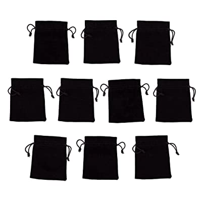 """10 tamaño mediano, 3 """"x 4"""" bolsas de terciopelo negro con cordones por Wiz dados, Plain: Deportes y aire libre"""