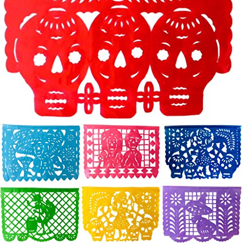 Day of the Dead Banner - Mexican Fiesta ''Amor de Muertos'' (16 Feet) Large Plastic Horizontal Garland- All Flags as Pictured by TexMex Fun Stuff
