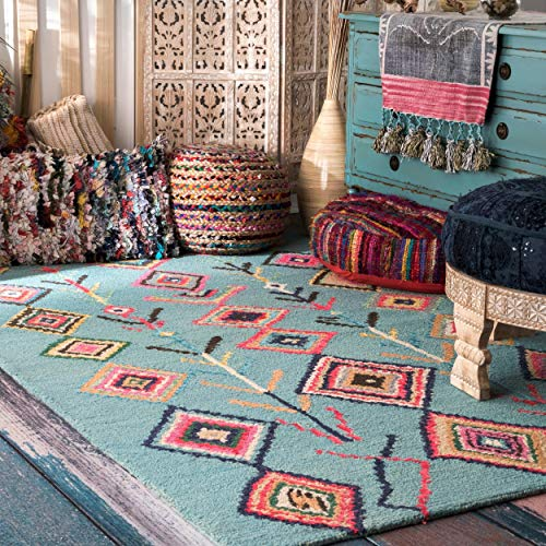 - MISC Turquoise Red Triangle Rug Southwest Area Carpet Tribal Navy Living Room Triangles Geometric Ivory Southwestern Entryway Pattern Geometrical Boho Trellis Theme, Wool 2' X 3'