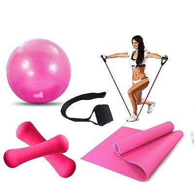 Balle de yoga / Balle de fitness / Balle de yoga pour débutants / Petite haltère en plastique / Slim Stretch Belt / Balle de yoga Balle d'haltères Tension Rope Door Buckle 5 ensembles (3 couleurs facultat