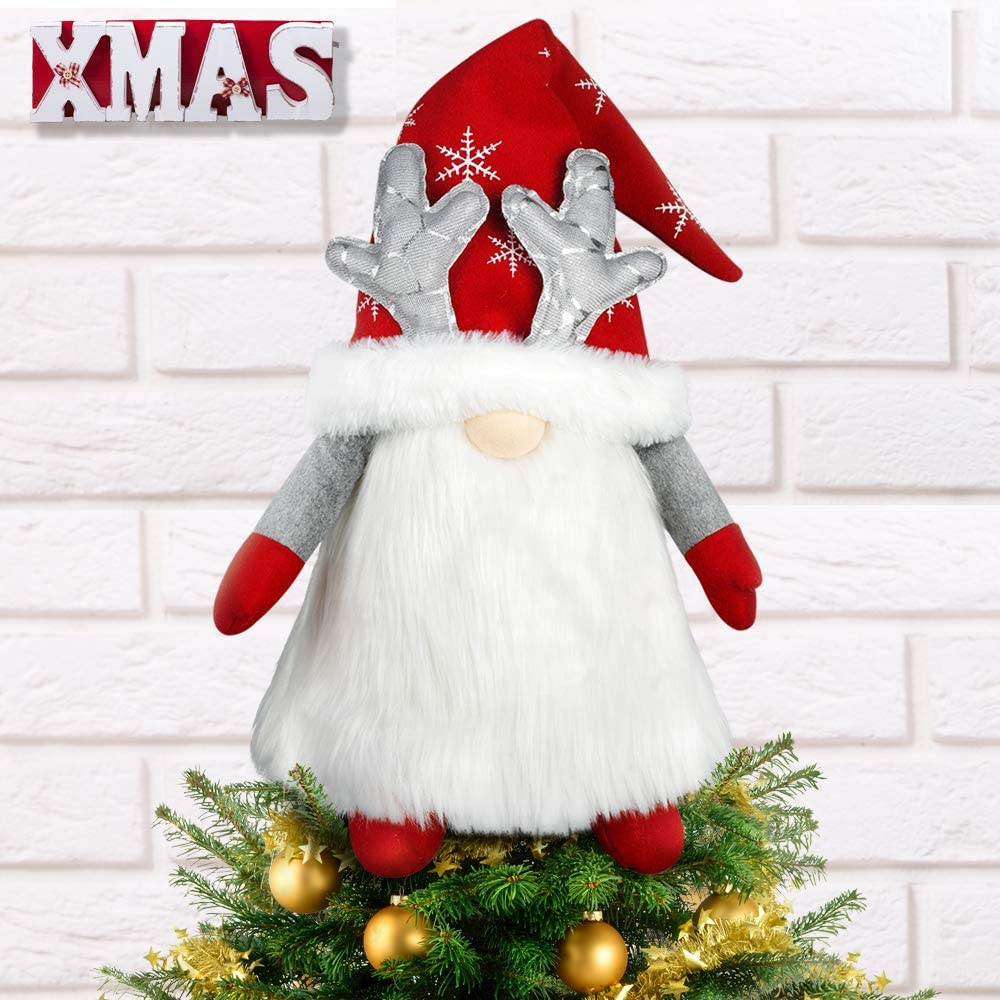 Gnome Christmas Tree Topper, 27 Inch Large Handmade Swedish Tomte Xmas Gnome Tree Topper Decoration, Scandinavian Santa Elf Tree Ornaments for Holiday New Year Home Decor