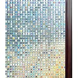Rabbitgoo 3D Window Films Privacy Film Static Decorative Film Non-Adhesive Heat Control Anti UV Mosaic Pattern, 90 x 200CM, (35.4 by 78.7 Inches)