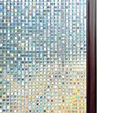 RABBITGOO 3D Window Films Privacy Film Static Decorative Film Non-Adhesive Heat Control Anti UV 35.4In. By 78.7In. (90 x 200Cm)