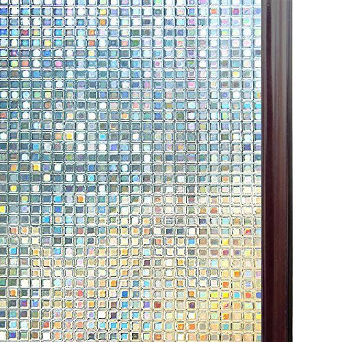 RABBITGOO 3D Window Films Privacy Film Static Decorative Film Non-Adhesive Heat Control Anti UV 35.4In. By 78.7In. (90 x (Stained Glass Mirror)