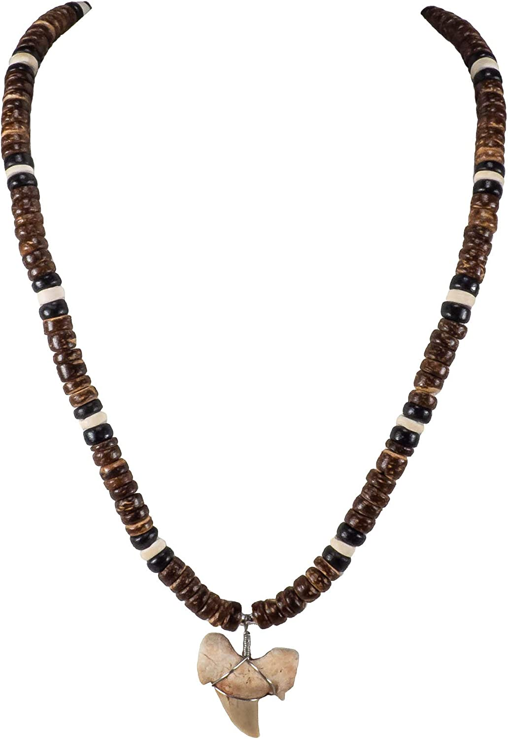 BlueRica Shark Tooth Pendant on Brown, Black & Natural Coconut Beads Necklace (3S)