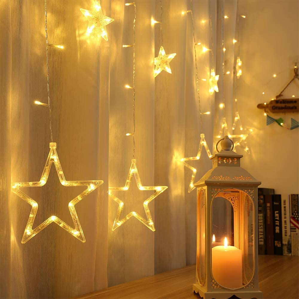 ilikable Star Curtain String Lights Valentine's Day Decoration, 138 LEDs 12 Star Lights Indoor Outdoor 8 Modes Memory Function for Bedroom Window Party Wedding Valentine Wall Decor, Warm White