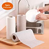 Paper Towels for kitchen,Paper Rags,Disposable Cleaning Towels,Cleaning Paper Rags,Dish Cloths Reusable Towels,Reusable Household Cloths(Wave Pattern, 3 Rolls)