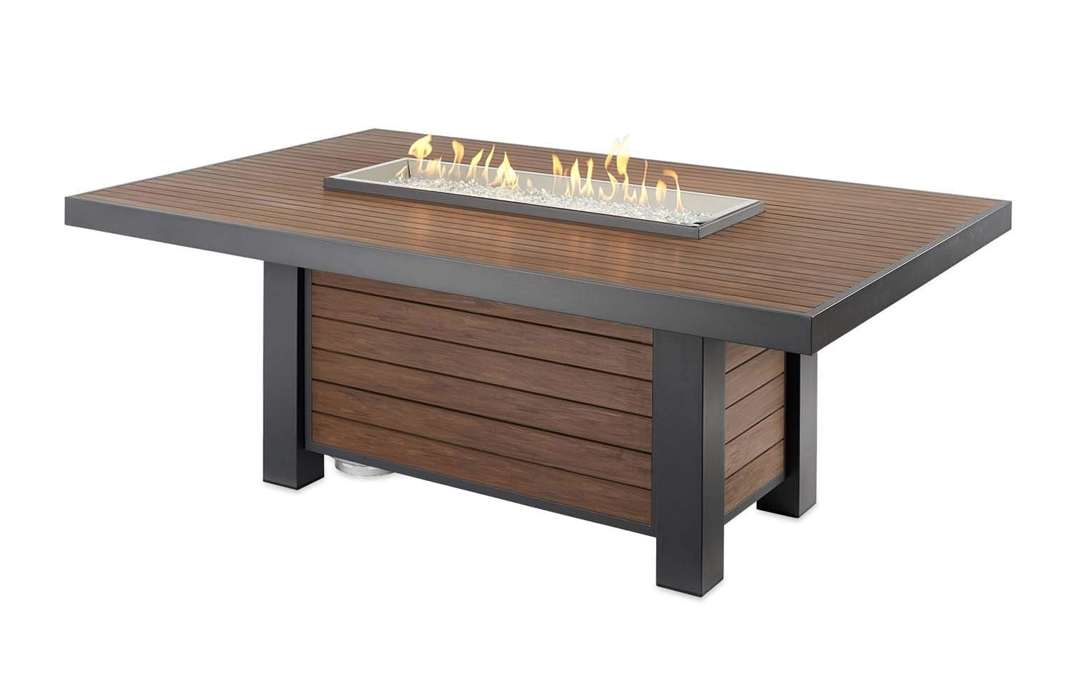 The Outdoor GreatRoom Company Kenwood Linear Dining Height GAS Fire Pit Table (KW-1242-K) with Glass Wind Guard (1242) by The Outdoor GreatRoom Company