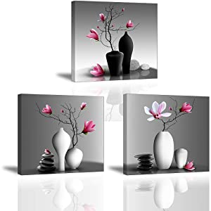 "Flower Wall Art for Bathroom Hallway, SZ Elegant Orchid Still Life Canvas Painting Prints, Pink Magnolia in Black and White Vases Picture (Bracket Mounted Ready to Hang, Waterproof Decor, 1"" Thick)"