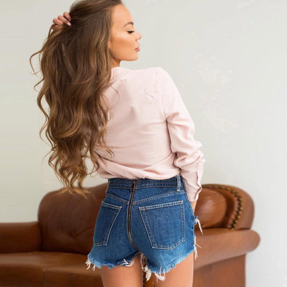 HNJZX Damen Low Waist Cutoff Denim Jeans Shorts Hot Pants Fashion Sommer Casual Pants