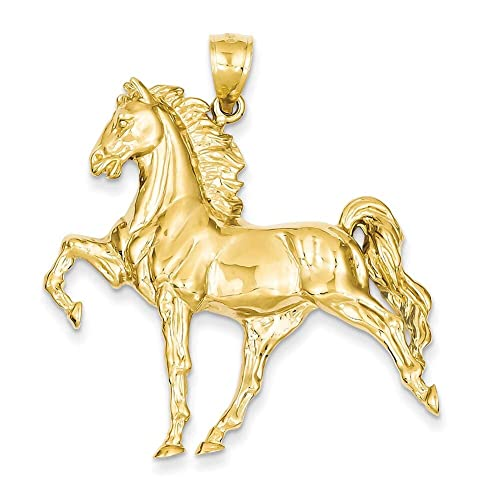14k Yellow Gold Open-Backed Horse Pendant