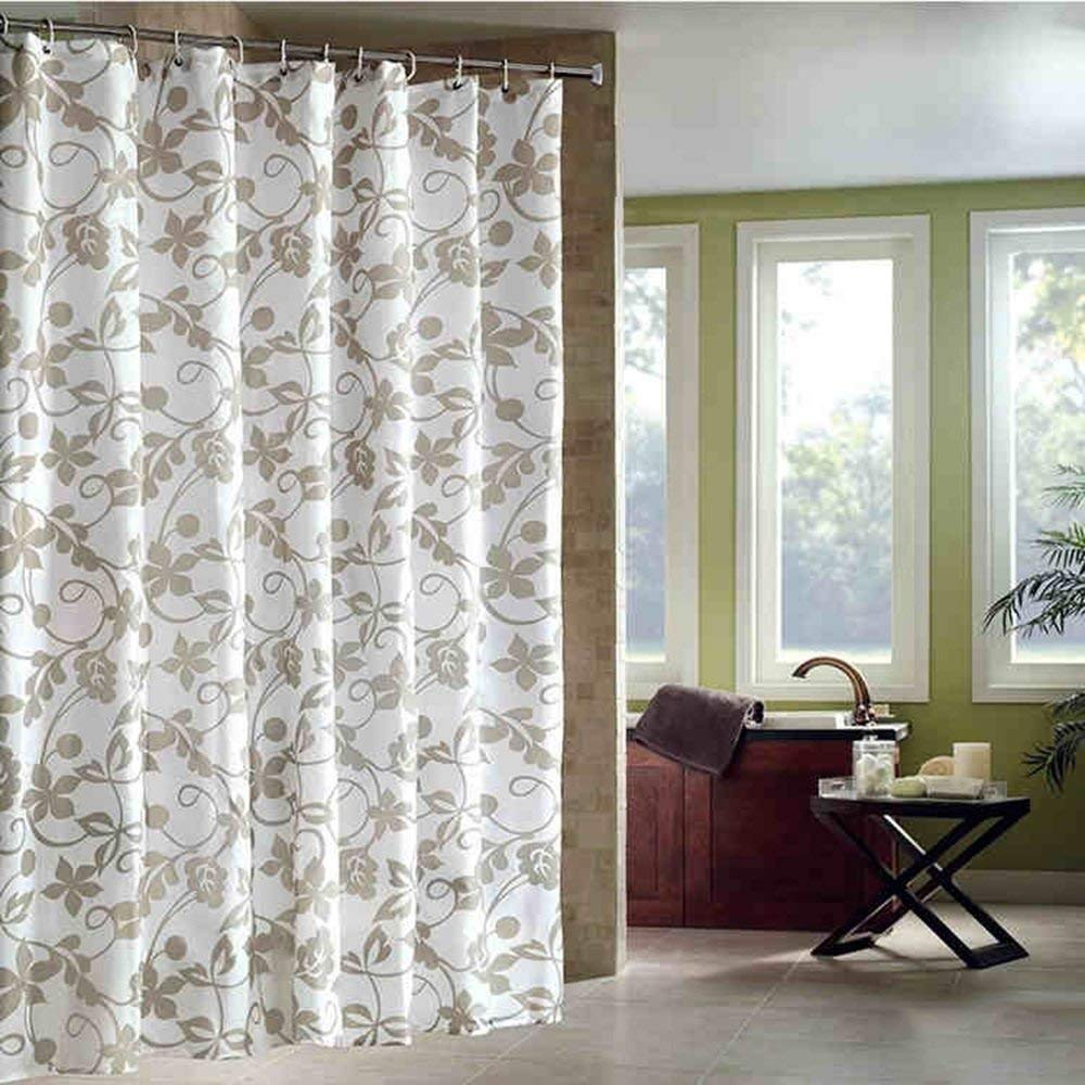 MXK Jacquard Shower Curtain - Polyester Woven Waterproof Mildew Antibacterial Bathroom Curtain Privacy Protection Home Decoration Resin Hook (WxH) (Size : 280x200cm)