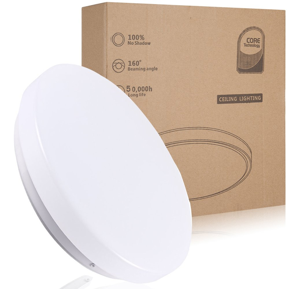 12W LED Flush Mount Ceiling Light,Waterproof IP44,10 inch/Ø 26cm,950 LM, Fitting Lighting for Living Room, Bathroom, Bedroom, and Dining Room with 3000K Color Temperature (Warm White) rawnice
