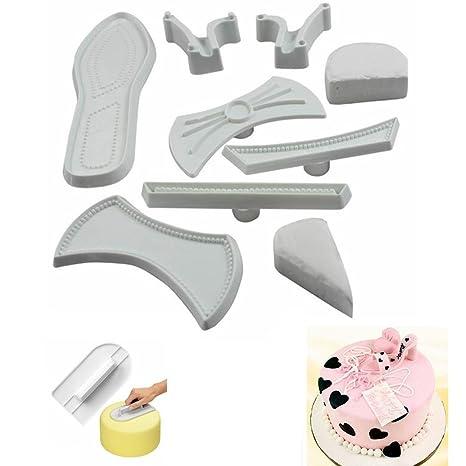 MAXGOODS 9Pcs 3D Moldes de Extracción Fondant Corta Pastas Forma Zapatos de Tacón Alto Molde Decoración