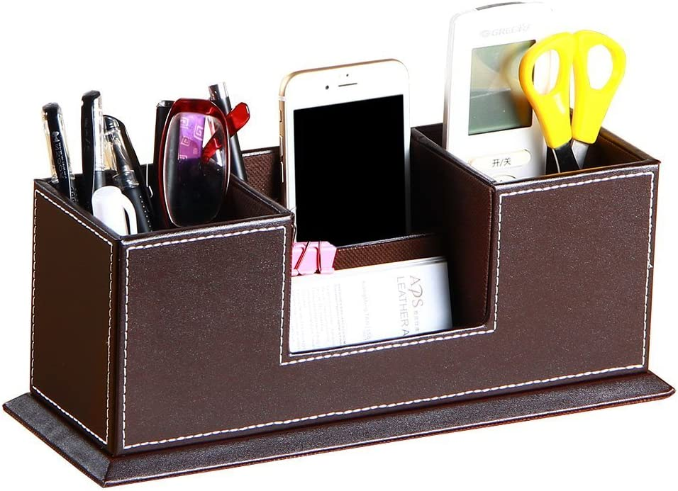 Office Pencil Holder PU Leather Multifunctional Desk Supplies Organizer for Pen/Pencil/Business Cards/Phone/TV Remote Control Stationery Accessories Collection Nightstand Caddy Storage Box (Brown)