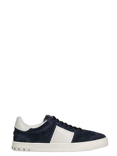 8fcb67d56d11e VALENTINO GARAVANI Men's QY0S0A08LARM15 White/Blue Leather Sneakers ...