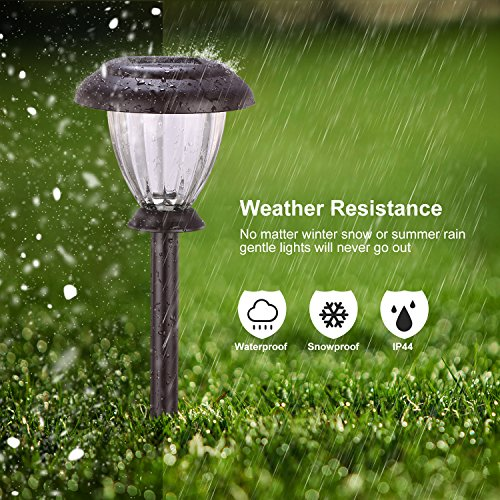 SUNWIND Solar Pathway Lights Outdoor Waterproof Glass Landscape Lights 6-Pack Warm White LED for Garden,Path,Patio Yard,Walkway and Driveway (Bronze Metal) by SUNWIND (Image #4)