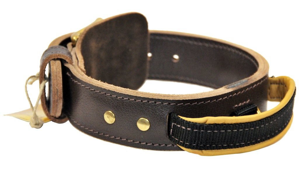 Dean & Tyler Leather Dog Collar  Simplicity +  Brown 56cm By 4cm Width. Will Fit Neck Size 51cm 61cm. Double-Ply Full Grain Leather. Great Collar With a Handle For Ultimate Control. High Quality Leather From Netherlands.