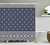 beige and blue shower curtain - Boho Decor Shower Curtain by Ambesonne, Ethnic Boho Pattern Indian Sari Print with Flowers Tribal Theme Design, Fabric Bathroom Decor Set with Hooks, 70 Inches, Cadet Blue and Beige