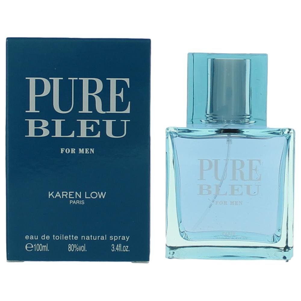Karen Low Pure Blue Eau de Toilette Spray for Men, 3.4 Ounce