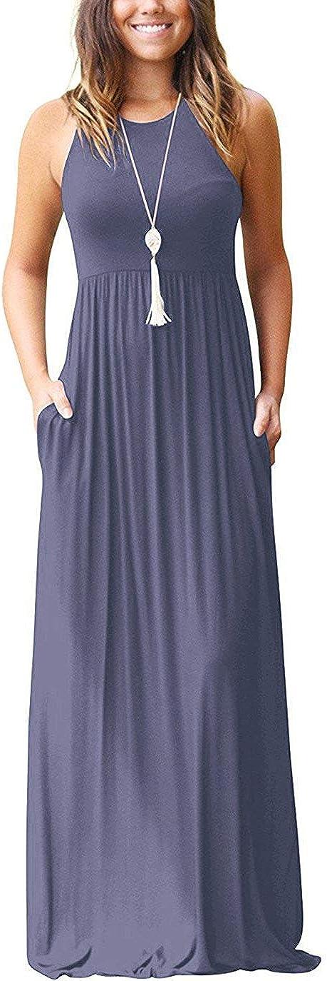 PCEAIIH Womens Short//Long Sleeve Loose Plain Long Maxi Casual Dresses with Pockets