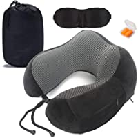 Travel Pillow Memory Foam U-Shape Pillow Neck Comfort and Support Portable with 3D Sleep Mask Ear Plugs Carry Bag