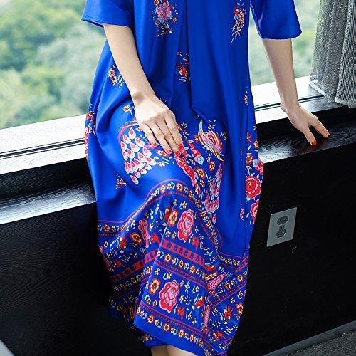 Línea Primavera Falda De RONG De Vestidos De Impreso Mujeres blue XIU Gran Una Sueltos Tamaño Vestidos Ewq6naX7