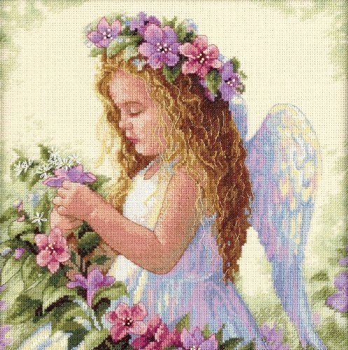 Dimensions Passion Flower Angel Counted Cross Stitch Kit: (Angel Cross Stitch Kit)