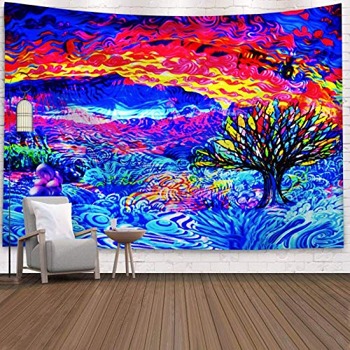 CLOMAY Trippy Magical Tree Tapestry Psychedelic Tapestries Splash Cloud Tree Fantasy Mushrooms Landscape Hippie Waves Abstract Art Sun Tapestry Wall Hanging for Bedroom, Living Room, Dorm