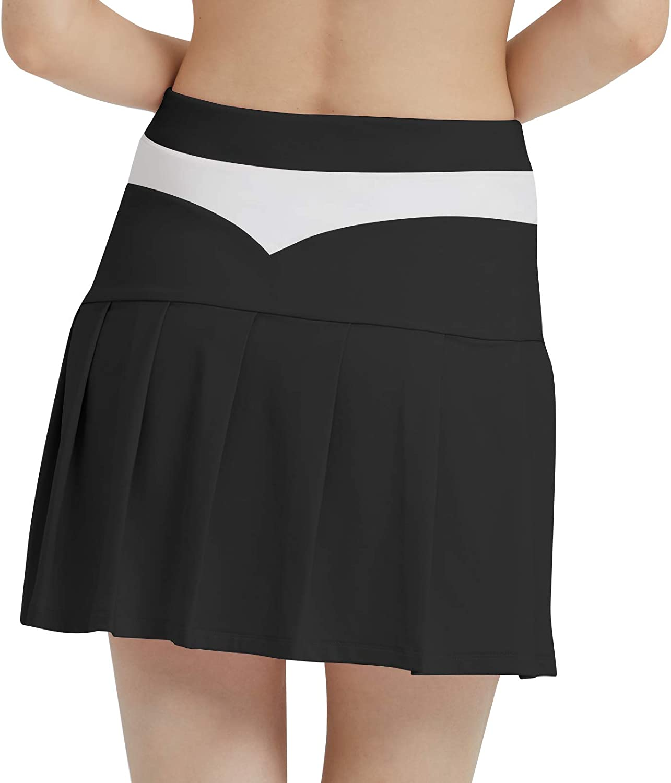 PCGAGA Women's Golf Skirt Tennis Skirt Pleated Peach Hip Design with Side Inner Pocket for Workout Running