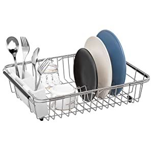 SANNO Dish Rack Over Sink, Expandable Dish Drying Rack, Adjustable Dish Drainer On Counter with Utensil Silverware Storage Holder, Rustproof Stainless Steel