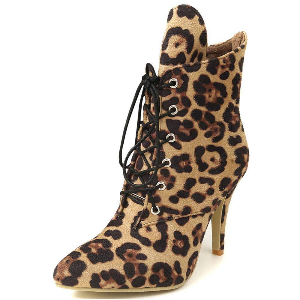 Shirloy Damenstiefel Schnürschuhe für Damen Schnürschuhe für Damen Antileopard-Ritterstiefel Große, Kurze Stiefel Spitz Mit Martin-Stiefeln  | Einfach zu spielen, freies Leben