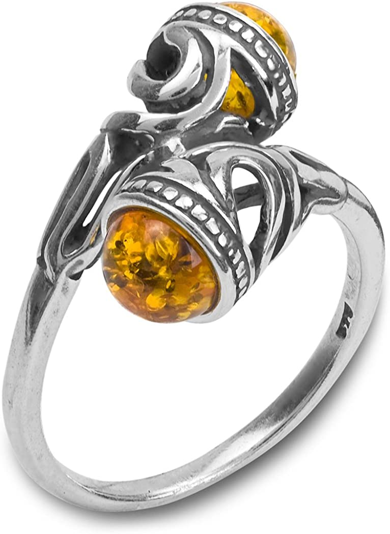 AMAZING NATURAL BALTIC AMBER 925 STERLING SILVER RING SIZE 5-10