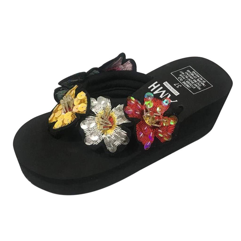High Wedges Boho Flip Flops for Girls,❤️ FAPIZI Womens Clip Toe Sequin Flower Sandals Platform Bath Beach Home Slippers Black