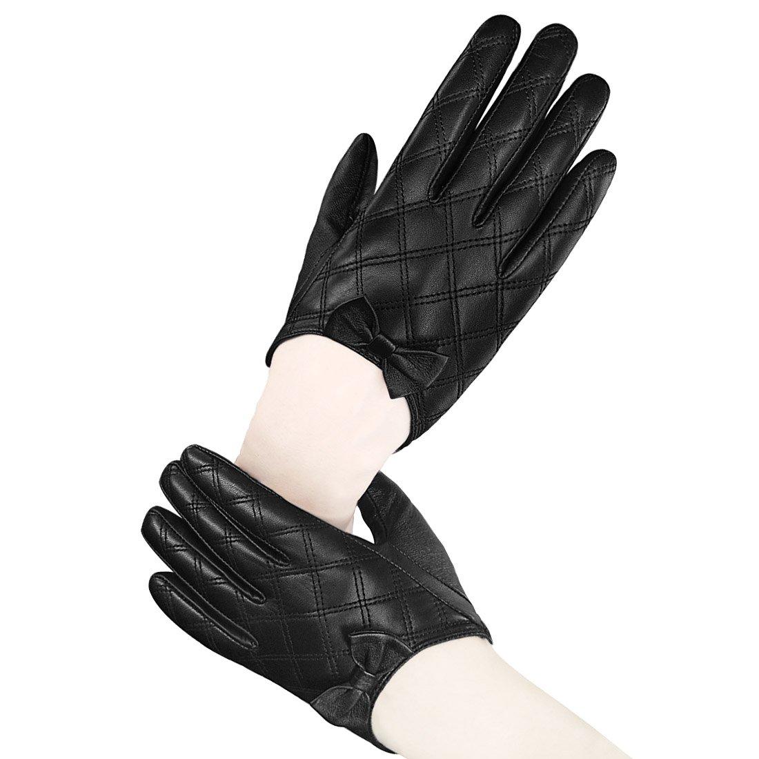 LETHMIK Lady's Stylish Driving Short Gloves Backless Genuine Leather Gloves Black-XL