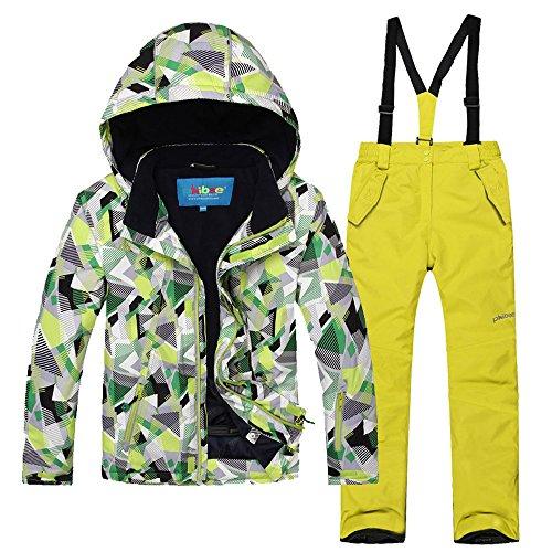 mansmoer Children's Ski Suit Boys Warm Winter Sport Snowboard Jacket Snow Pants (134/140, (Green + Yellow)/8013)