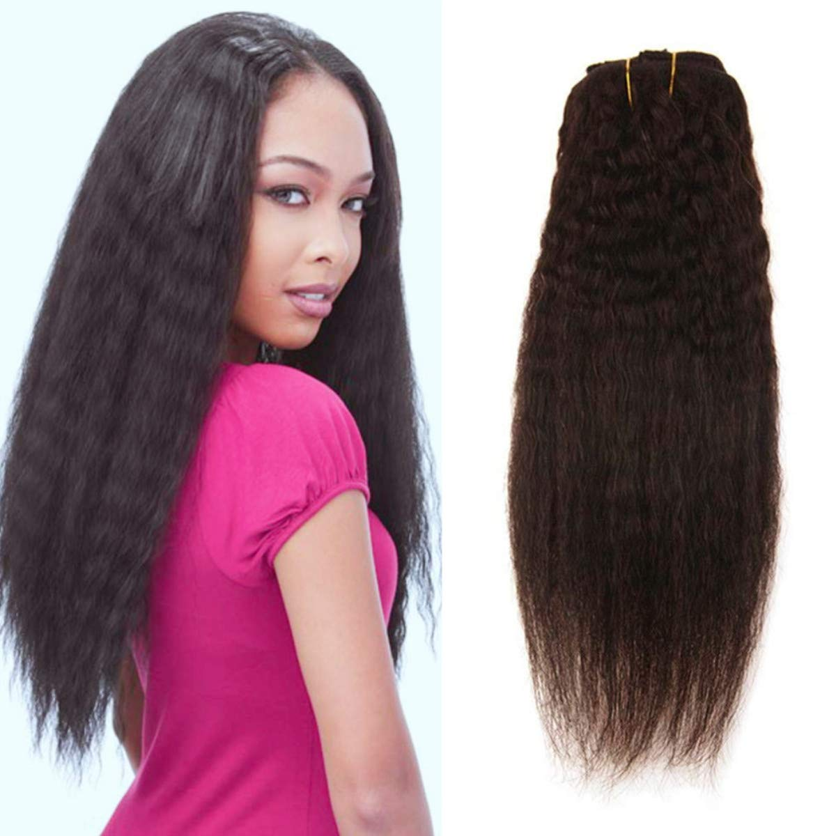 Ugeat 10Inch Clip in Yaki Hair Extensions