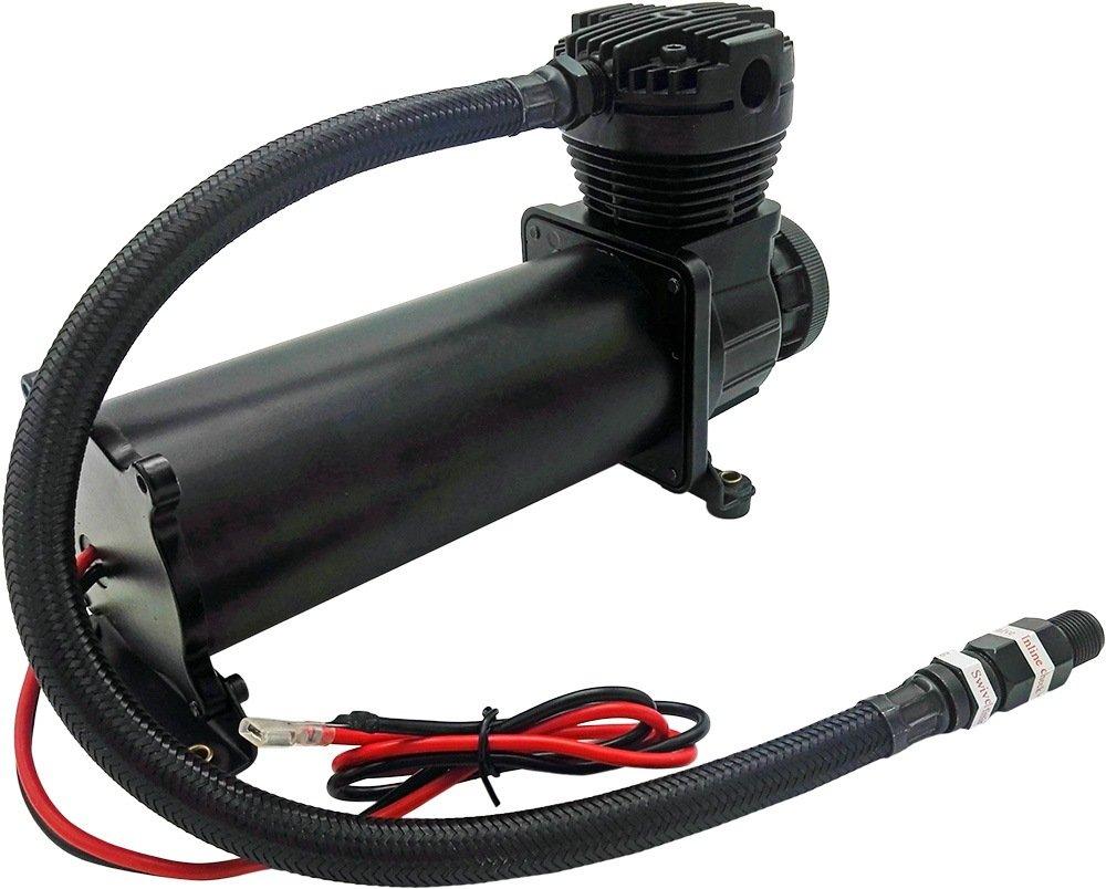 Vixen Air 200 PSI Heavy Duty Suspension/Air Ride/Bag/Train Horn Air Compressor/Pump with 3/8'' Braided Hose, 3/8'' NPT Check Valve and Remote Mount Air Filter Kit 12V Black (Dual Pack) VXC480BDP by Vixen Air (Image #4)