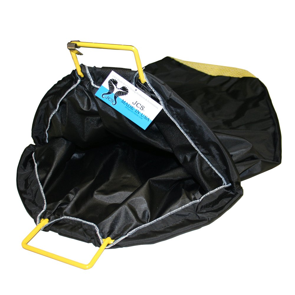 JCS Full Nylon Pack Cloth Lobster Bag with Mesh Bottom (for Drain), Coated Wire, Medium, 18inch x 30inch