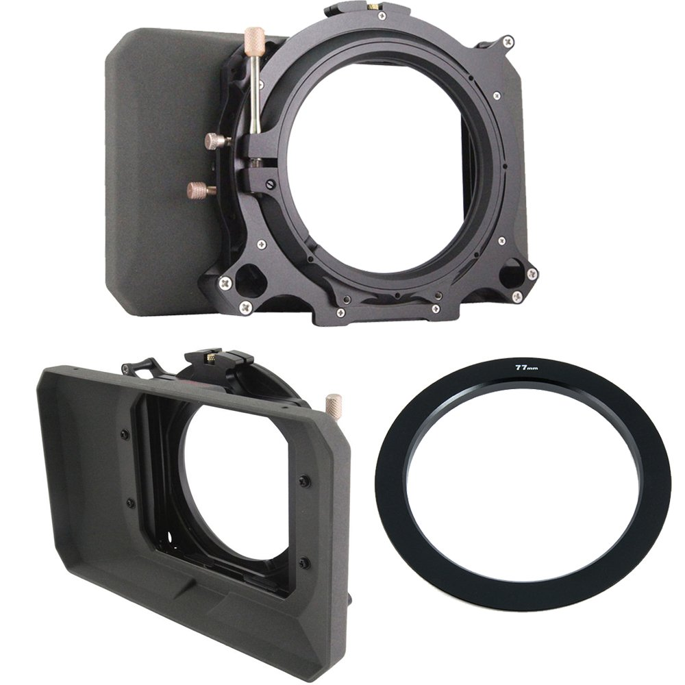 Genustech GWMC Wide Angle Matte Box for 4 x 4 Filters with Genustech 77mm Adapter Ring for Clip-On Matte Box by Genustech