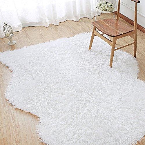 ary Elegant Luxury Fleecy Large Area Rug One Pelt Plush Faux Fur Sheepskin Rug Fluffy Carpet Floor Mat, 5 ft x 6 ft, Ivory White ()