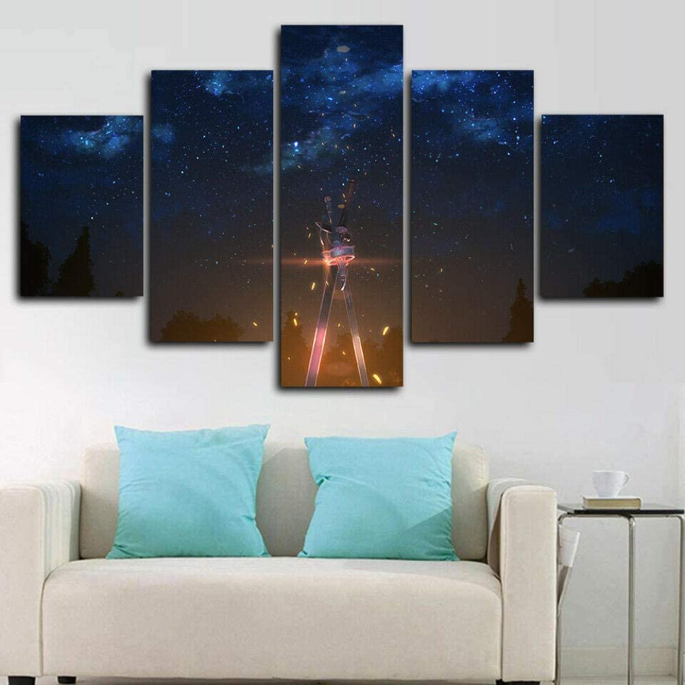 Luck7 - 5 Pieces Canvas Wall Art Prints Pictures HD Poster - Sword Art Online - Modern Painting Giclee Artwork for Home Decoration - Framed Ready to Hang-150x80cm