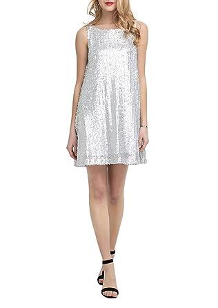 91ae6a72bd8 Hodoyi Women Sparkly Sequin Sleeveless A Line Tank Mini Dress at ...