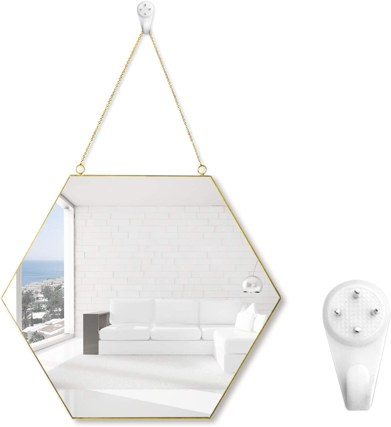 Gold Mirror for Wall Decors Geometric Hexagon Hanging Mirror 11.8 X10.2 inch with Metal Chain & Hook Easy Mounted Metallic Copper Frame Mirror Ideal for Home Décor Bathroom Living Room Bedroom