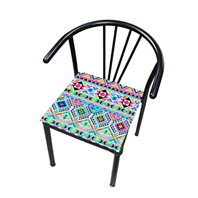 Bardic FICOO Home Patio Chair Cushion Aztec Abstract Geometric Square Cushion Non-Slip Memory Foam Outdoor Seat Cushion, 16x16 Inch: Home & Kitchen
