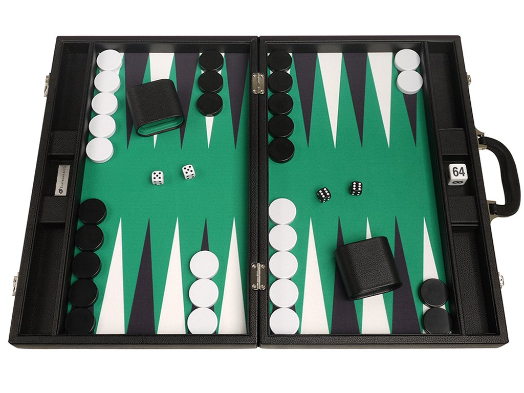 19-inch Premium Backgammon Set - Large Size - Black Board, Green Playing Surface, Black and White Points by Silverman & Co.